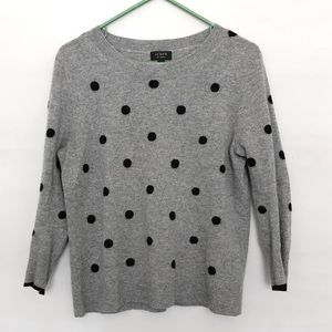 J CREW WOMEN'S GRAY POLKA DOT CASHMERE SWEATER  M